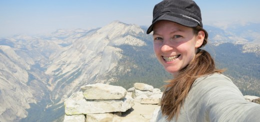 alice on top of half dome in yosemite