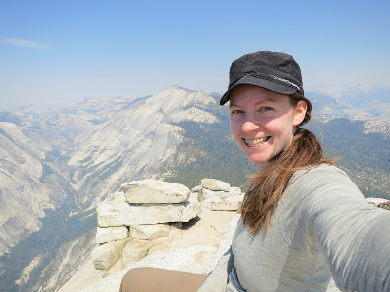 alice on half dome summit in yosemite
