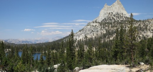Cathedral Peak presiding over Upper Cathedral Lake.