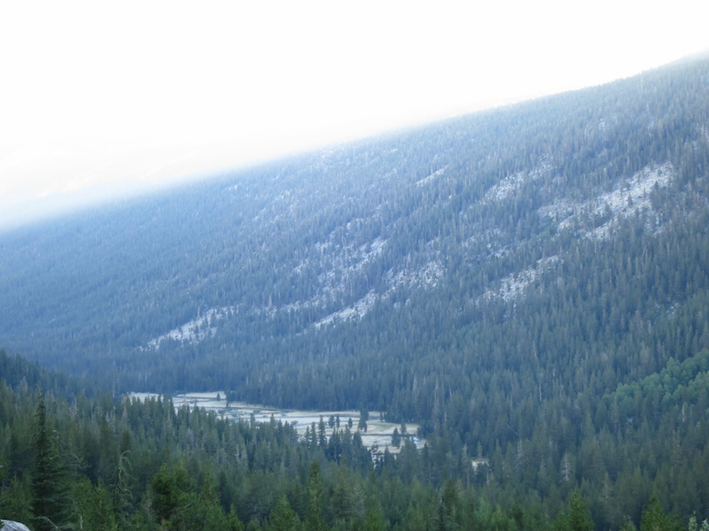 Looking down on the oxbow bends in the Lyell Fork.