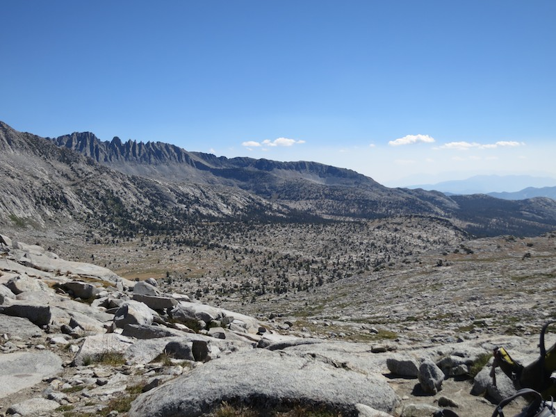 The southbound view from Donahue Pass.