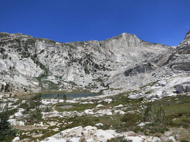 Squaw Lake viewed from the climb up to Silver Pass.