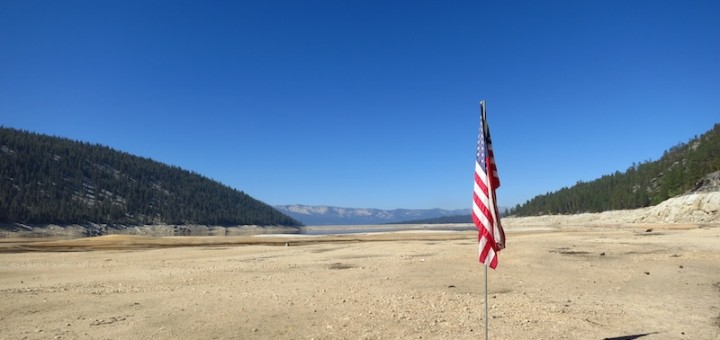 This flag is marking where the shore had been a few weeks previously.