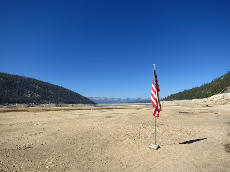 This flag is marking where the shore had been a few weeks previously (late-July?).