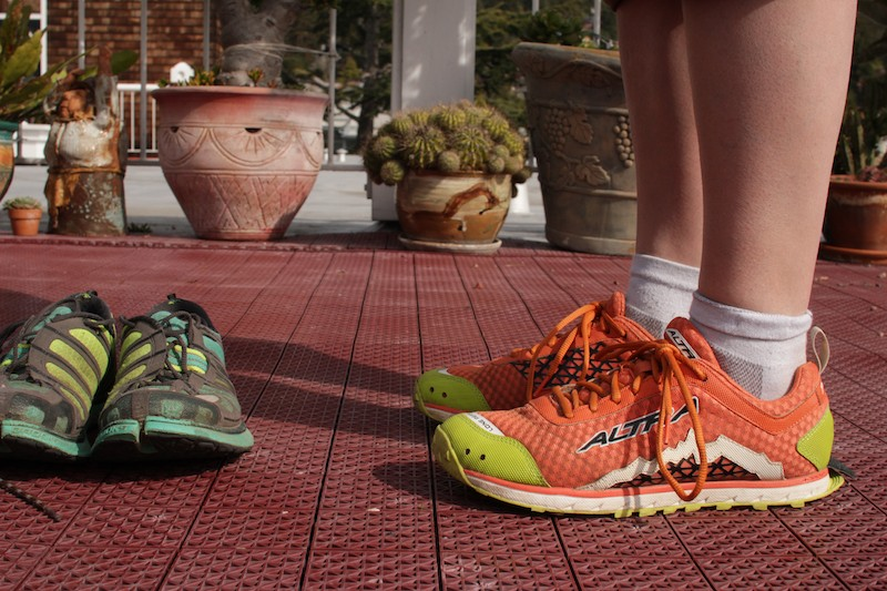 Brooks PureGrit 2s from 2013 (left) and 2014's Altra Lone Peak 1.5s.