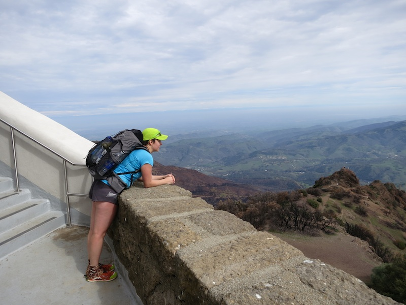 alice with mld burn pack on the stairway up to the Mount Diablo Summit