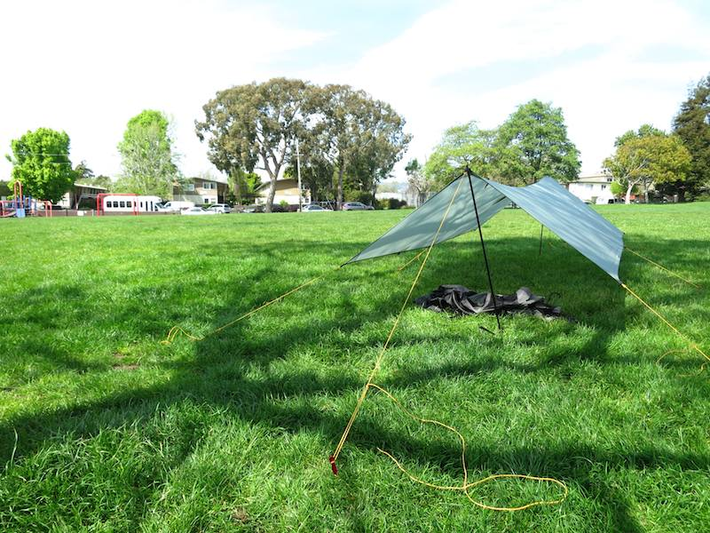 tarp in a-frame setup