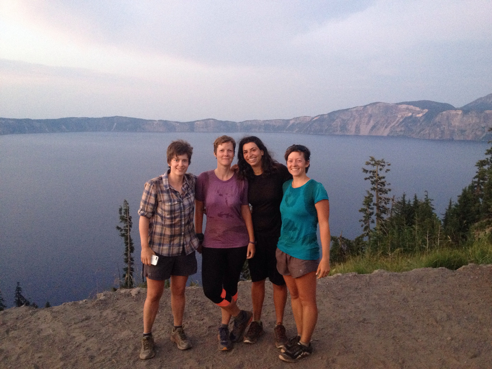 The sunset hikers at Crater Lake: Hot Tang, Mozzie, Emu, and Penguin.