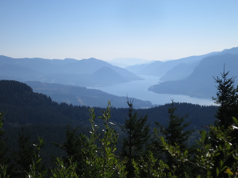 Looking eastward down the Columbia River Gorge.