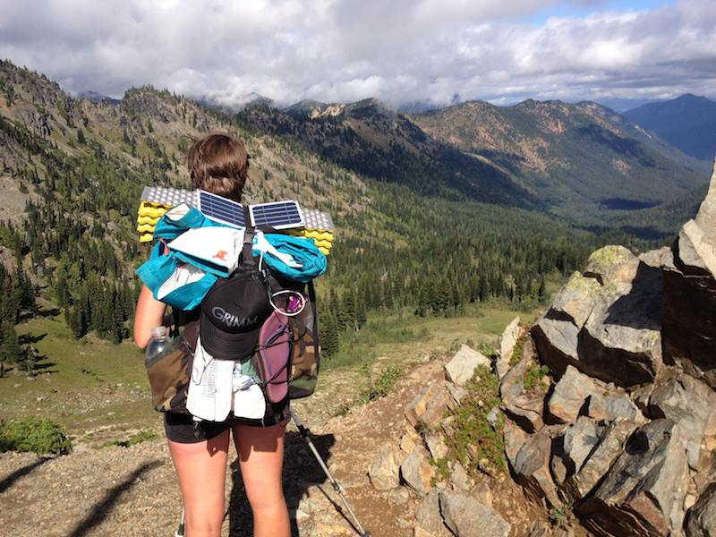 Alice and her backpack after Chinook Pass