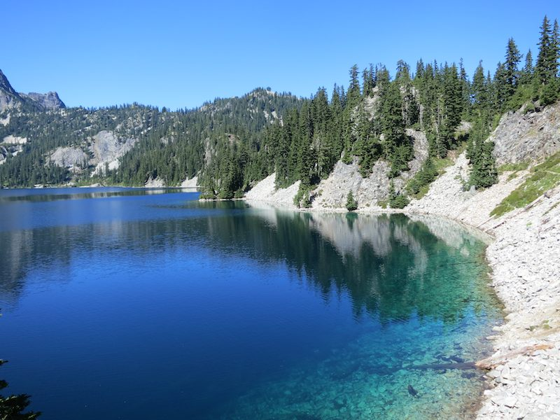 The popular Snow Lake north of Snoqualmie Pass on the Goldmyer Hot Spring alternate of the PCT.