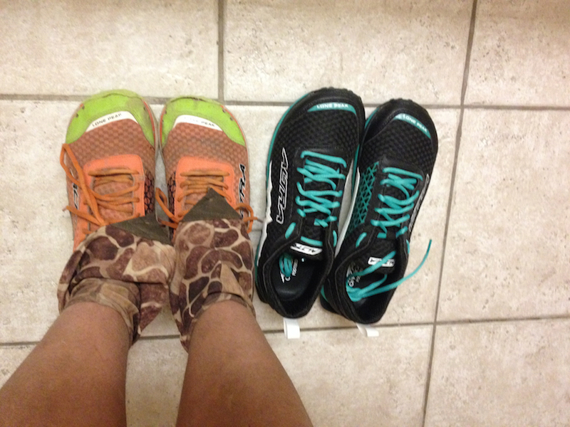 On left: first pair of Altra Lone Peak 1.5s. On right: second pair.