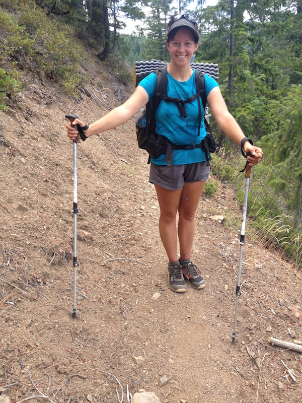 Happily using my Leki Lhasa Lite trekking poles on the descent into Shasta.