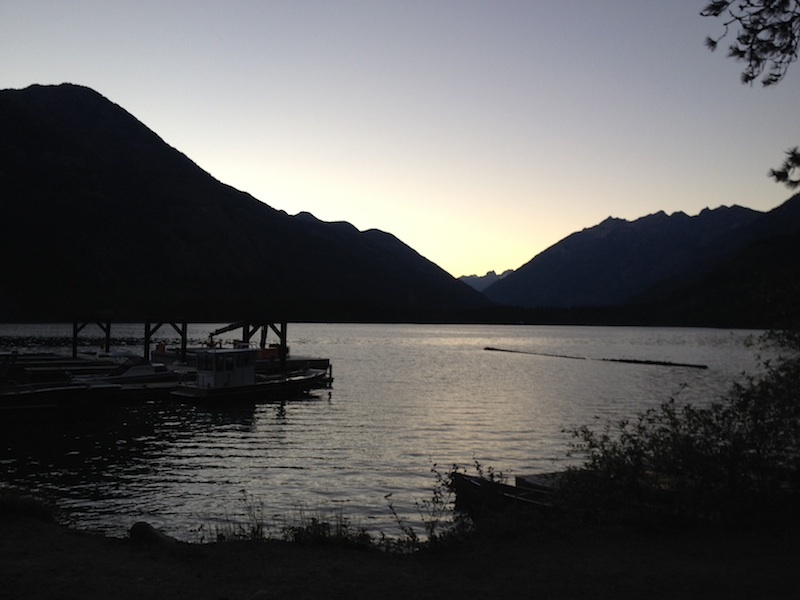 dusk over the stehekin docks on lake chelan