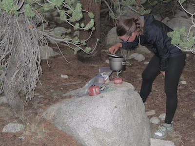 Penguin using the MSR MicroRocket and Titan Kettle on the JMT in 2013.